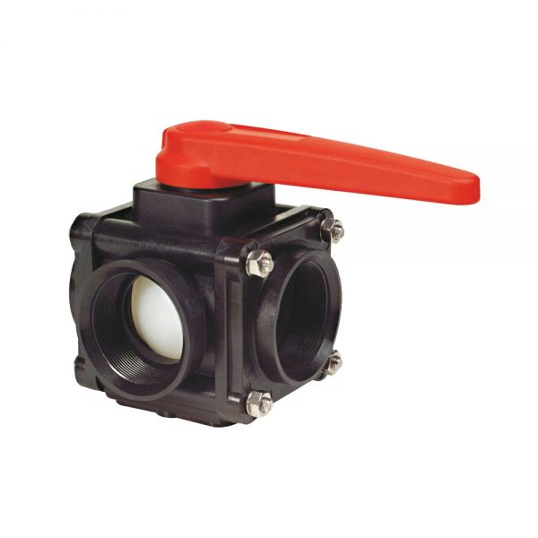 17853002 3 inch 3-Way Bolted Ball Valve - Side Connections